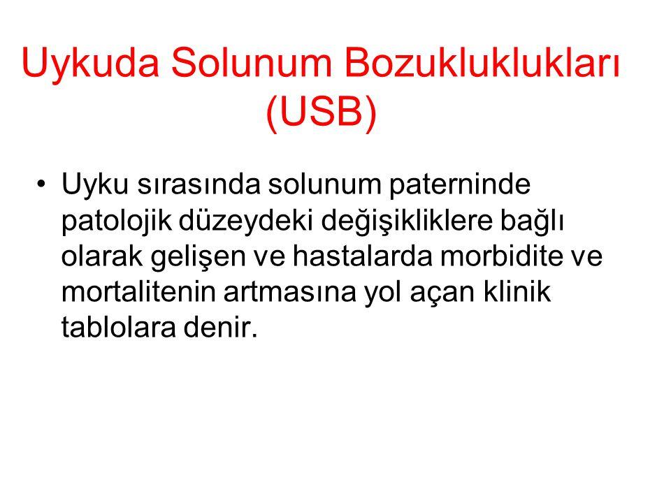 Uykuda Solunum Bozukluklukları (USB) Uyku sırasında solunum paterninde patolojik düzeydeki değişikliklere bağlı olarak gelişen ve hastalarda morbidite