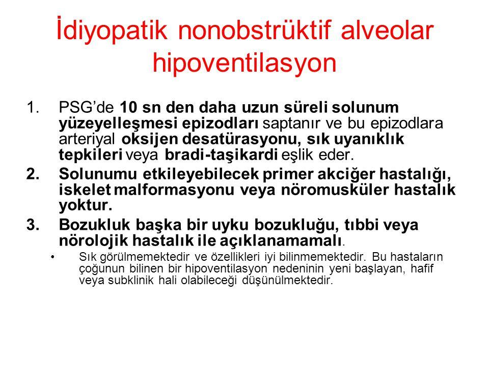 İdiyopatik nonobstrüktif alveolar hipoventilasyon 1.PSG'de 10 sn den daha uzun süreli solunum yüzeyelleşmesi epizodları saptanır ve bu epizodlara arte