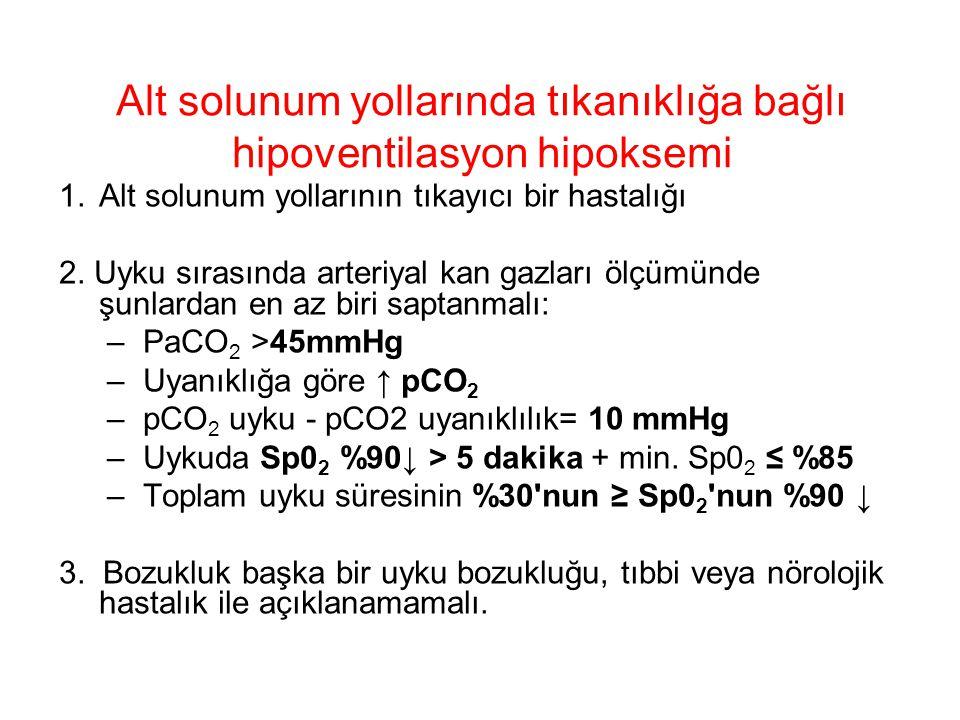 Alt solunum yollarında tıkanıklığa bağlı hipoventilasyon hipoksemi 1.Alt solunum yollarının tıkayıcı bir hastalığı 2. Uyku sırasında arteriyal kan gaz