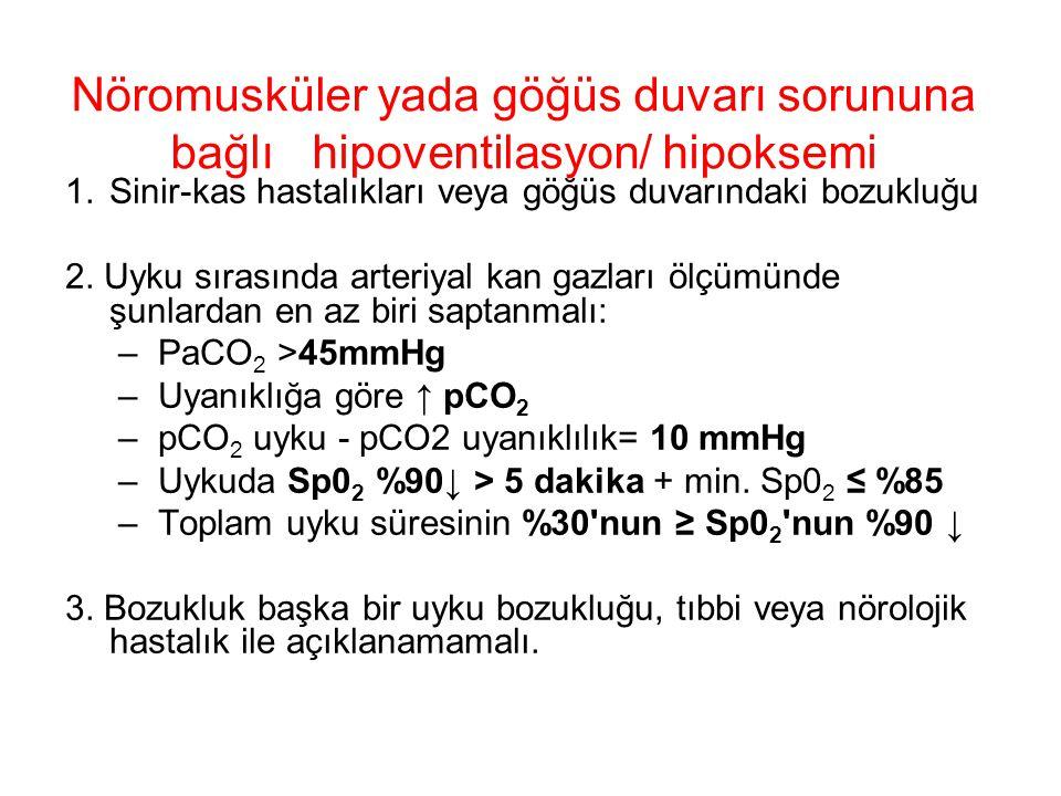 Nöromusküler yada göğüs duvarı sorununa bağlı hipoventilasyon/ hipoksemi 1.Sinir-kas hastalıkları veya göğüs duvarındaki bozukluğu 2. Uyku sırasında a