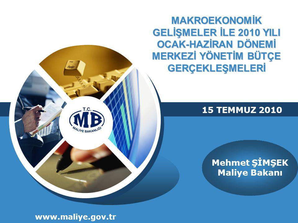 MAKROEKONOMİK GELİŞMELER İLE 2010 YILI OCAK-HAZİRAN DÖNEMİ MERKEZİ YÖNETİM BÜTÇE GERÇEKLEŞMELERİ www.maliye.gov.tr Mehmet ŞİMŞEK Maliye Bakanı 15 TEMMUZ 2010