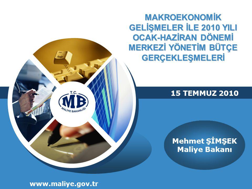 MAKROEKONOMİK GELİŞMELER İLE 2010 YILI OCAK-HAZİRAN DÖNEMİ MERKEZİ YÖNETİM BÜTÇE GERÇEKLEŞMELERİ www.maliye.gov.tr 15 TEMMUZ 2010 Mehmet ŞİMŞEK Maliye