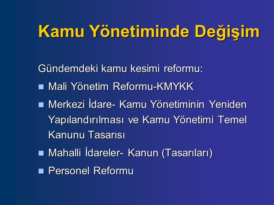 Kamu Yönetiminde Değişim Gündemdeki kamu kesimi reformu: Mali Yönetim Reformu-KMYKK Mali Yönetim Reformu-KMYKK Merkezi İdare- Kamu Yönetiminin Yeniden Yapılandırılması ve Kamu Yönetimi Temel Kanunu Tasarısı Merkezi İdare- Kamu Yönetiminin Yeniden Yapılandırılması ve Kamu Yönetimi Temel Kanunu Tasarısı Mahalli İdareler- Kanun (Tasarıları) Mahalli İdareler- Kanun (Tasarıları) Personel Reformu Personel Reformu