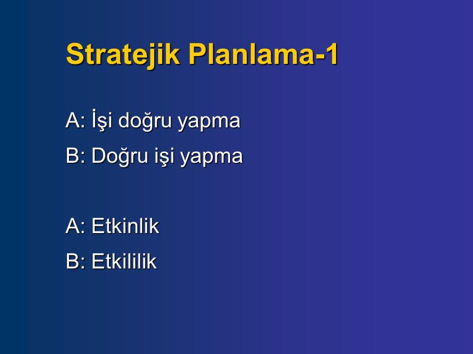 Stratejik Planlama-2 Etkinlik: Girdi-çıktı ilişkisi- çıktıların elde edilmesinde girdilerin nasıl kullanıldığı Etkinlik: Girdi-çıktı ilişkisi- çıktıların elde edilmesinde girdilerin nasıl kullanıldığı Etkililik: Önceden belirlenmiş amaçlara ulaşma düzeyi- çıktılarla elde edilen sonuçlar Etkililik: Önceden belirlenmiş amaçlara ulaşma düzeyi- çıktılarla elde edilen sonuçlar