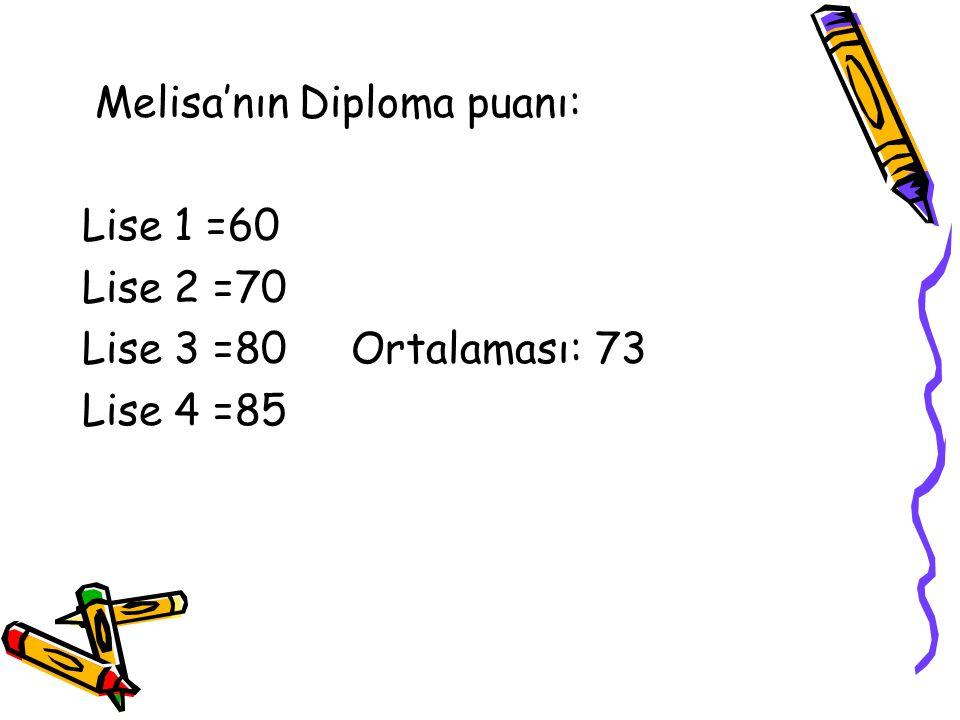 Melisa'nın Diploma puanı: Lise 1 =60 Lise 2 =70 Lise 3 =80 Ortalaması: 73 Lise 4 =85