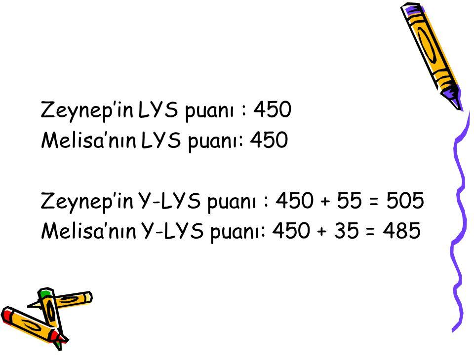 Zeynep'in LYS puanı : 450 Melisa'nın LYS puanı: 450 Zeynep'in Y-LYS puanı : 450 + 55 = 505 Melisa'nın Y-LYS puanı: 450 + 35 = 485