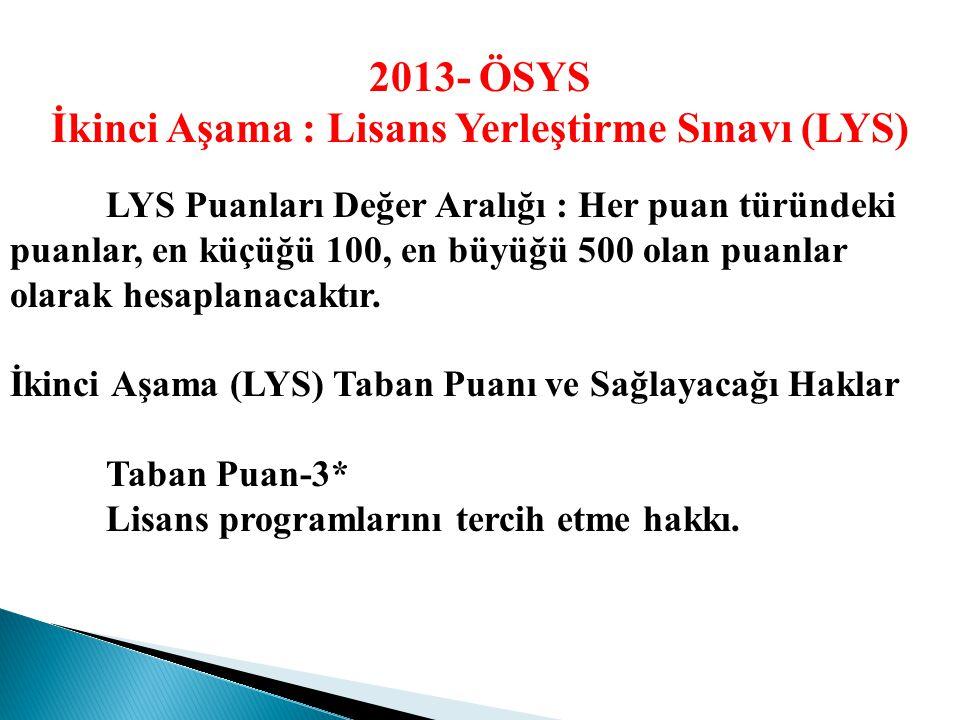 İkinci Aşama : Lisans Yerleştirme Sınavları (LYS) Sınav Tarihi : LYS-1 (Matematik) : 16 Haziran 2013 LYS-2 (Fen Bilimleri) : 22 Haziran 2013 LYS-3 (Ed