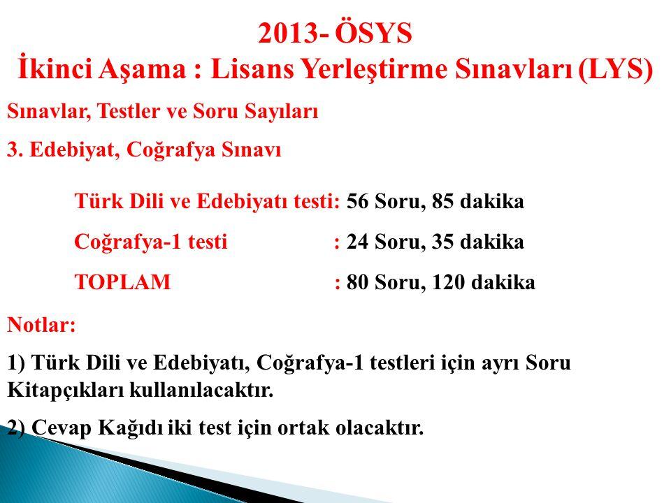 2013- ÖSYS İkinci Aşama : Lisans Yerleştirme Sınavları (LYS) Sınavlar, Testler ve Soru Sayıları 2.