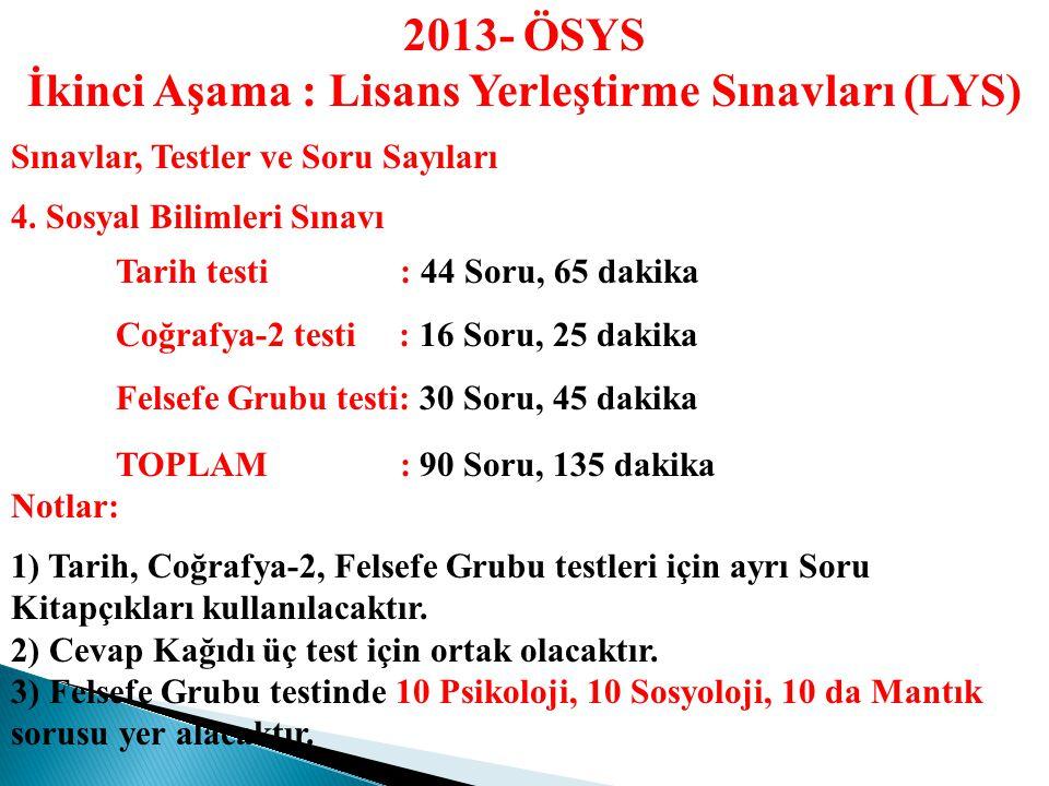 2013- ÖSYS İkinci Aşama : Lisans Yerleştirme Sınavları (LYS) Sınavlar, Testler ve Soru Sayıları 3.