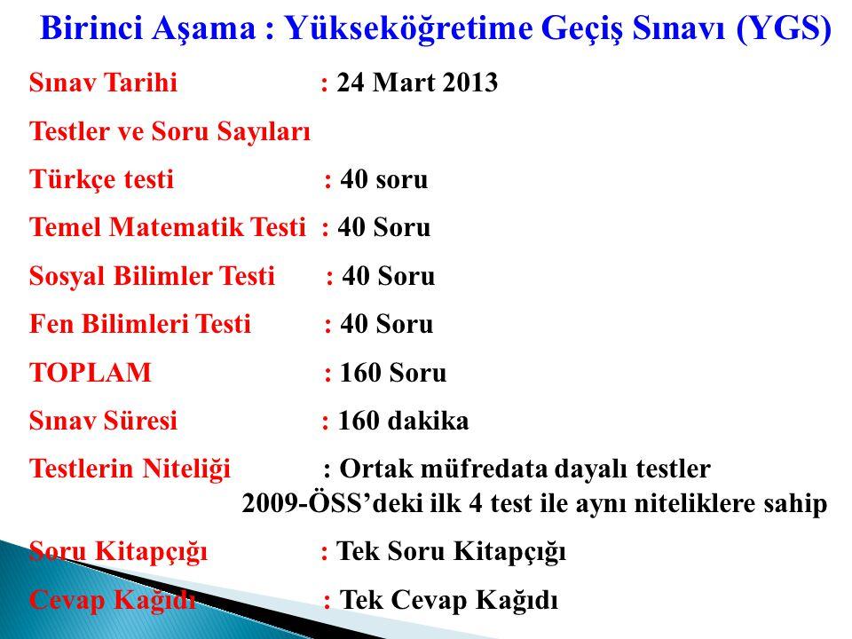 Puan Türü Testlerin Ağırlıkları % YGSLYS (LYS-1+LYS-3) Türkçe Sosyal Bil.