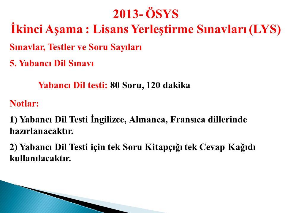 2013- ÖSYS İkinci Aşama : Lisans Yerleştirme Sınavları (LYS) Sınavlar, Testler ve Soru Sayıları 4.