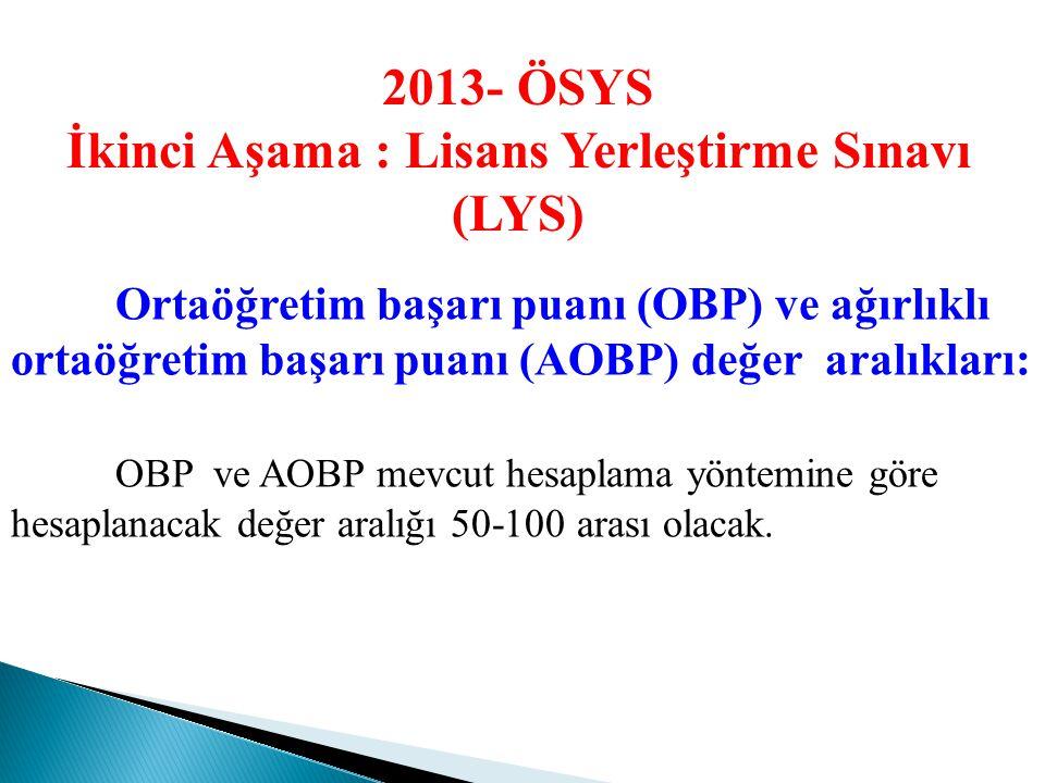 2013- ÖSYS 2009- ÖSYS Puan Türlerinin 2013 ÖSYS' deki karşılıkları 1. Önlisans ve Açıköğretim Programları 2009- ÖSYS 2013- ÖSYS SAY-1 YGS-1 veya YGS-2