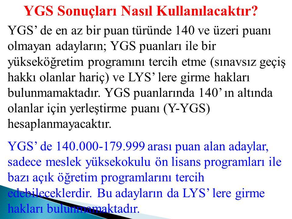 YGS Puanları Değer Aralıkları: Her puan türündeki puanlar, en küçüğü 100 en büyüğü 500 olan puanlar olarak hesaplanacaktır. Birinci Aşama (YGS) Taban