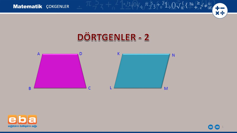 22 ÇOKGENLER Dikdörtgenin köşeleri dik olduğundan, m(EBA) = 90-40 = 50 0 olur.