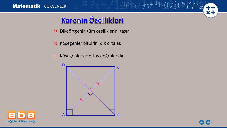 25 ÇOKGENLER Dikdörtgenin tüm özelliklerini taşır. a) Köşegenler birbirini dik ortalar. b) C A B D Köşegenler açıortay doğrularıdır. c)