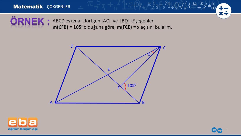 4 ABCD eşkenar dörtgen [AC] ve [BD] köşegenler m(CFB) = 105 0 olduğuna göre, m(FCE) = x açısını bulalım. ÇOKGENLER 105 0 A C B D E x F