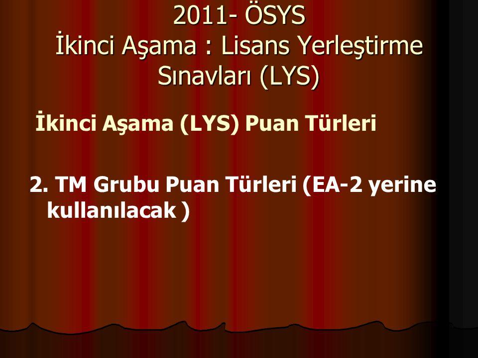 İkinci Aşama (LYS) Puan Türleri 2. TM Grubu Puan Türleri (EA-2 yerine kullanılacak ) 2011- ÖSYS İkinci Aşama : Lisans Yerleştirme Sınavları (LYS)