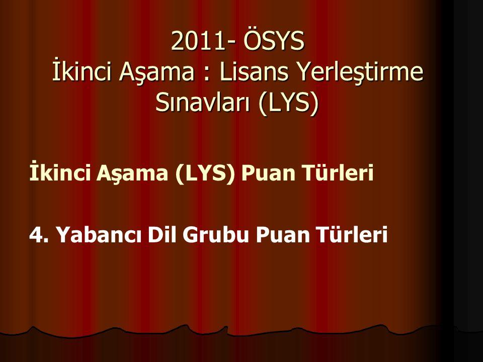 İkinci Aşama (LYS) Puan Türleri 4. Yabancı Dil Grubu Puan Türleri 2011- ÖSYS İkinci Aşama : Lisans Yerleştirme Sınavları (LYS)