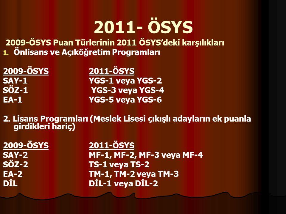 2011- ÖSYS 2009-ÖSYS Puan Türlerinin 2011 ÖSYS'deki karşılıkları 1. 1. Önlisans ve Açıköğretim Programları 2009-ÖSYS 2011-ÖSYS SAY-1 YGS-1 veya YGS-2