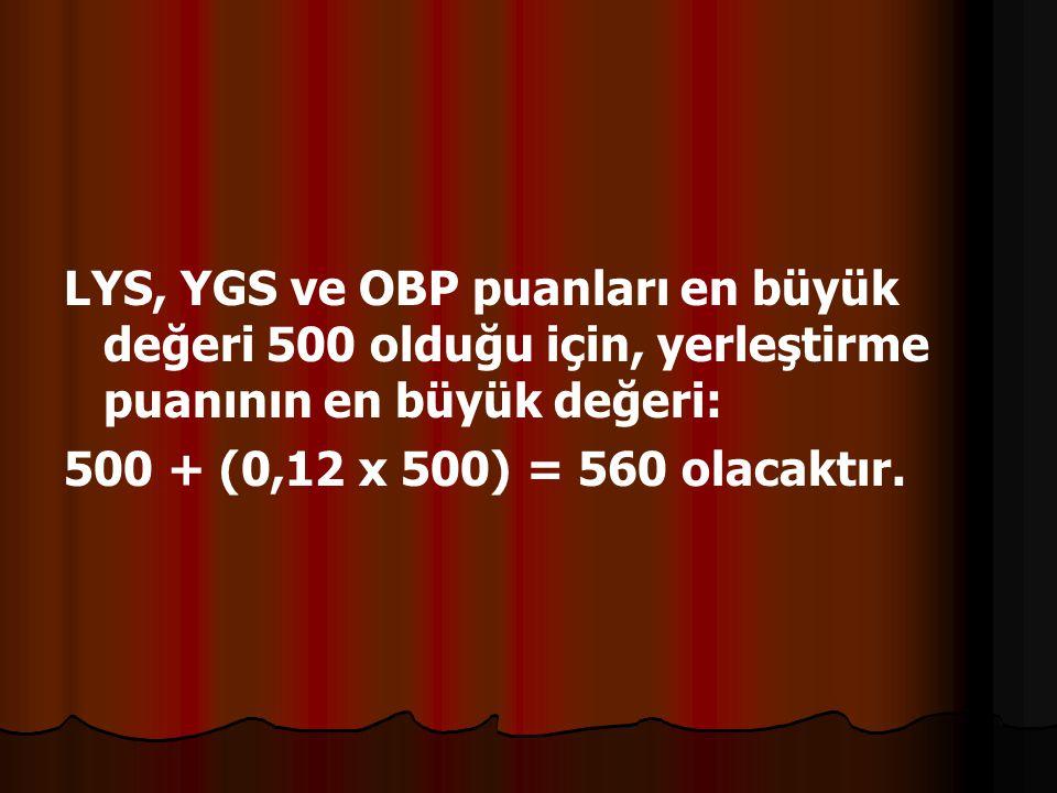 LYS, YGS ve OBP puanları en büyük değeri 500 olduğu için, yerleştirme puanının en büyük değeri: 500 + (0,12 x 500) = 560 olacaktır.