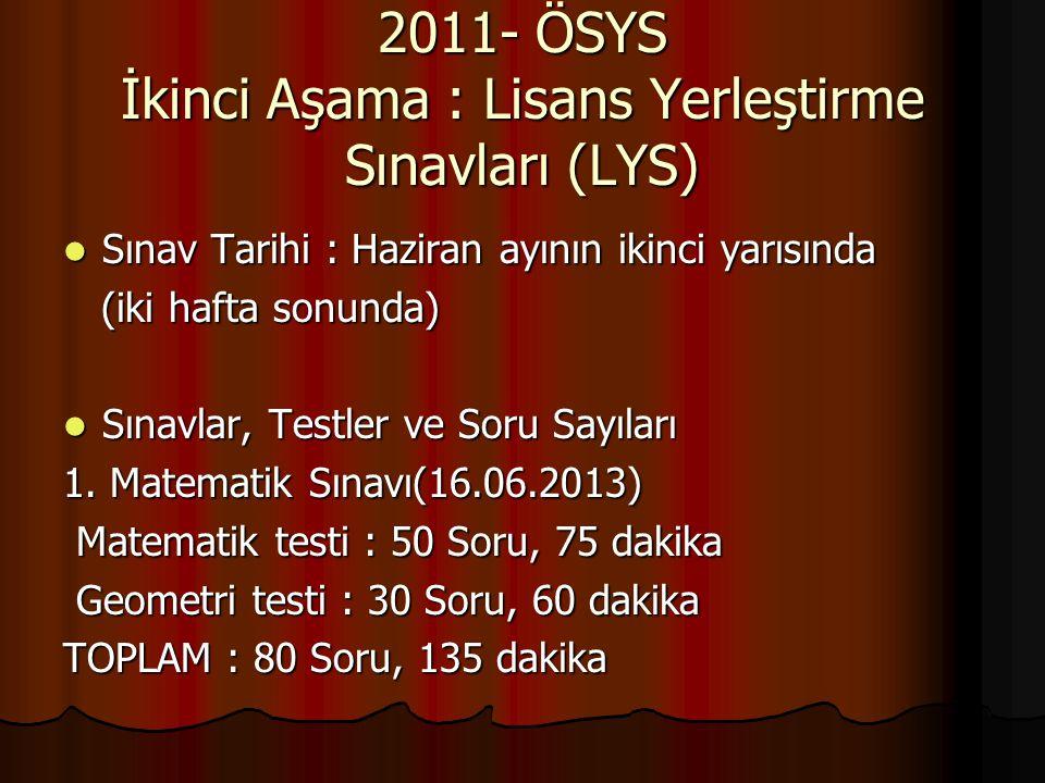 2011- ÖSYS İkinci Aşama : Lisans Yerleştirme Sınavları (LYS) Sınav Tarihi : Haziran ayının ikinci yarısında Sınav Tarihi : Haziran ayının ikinci yarıs