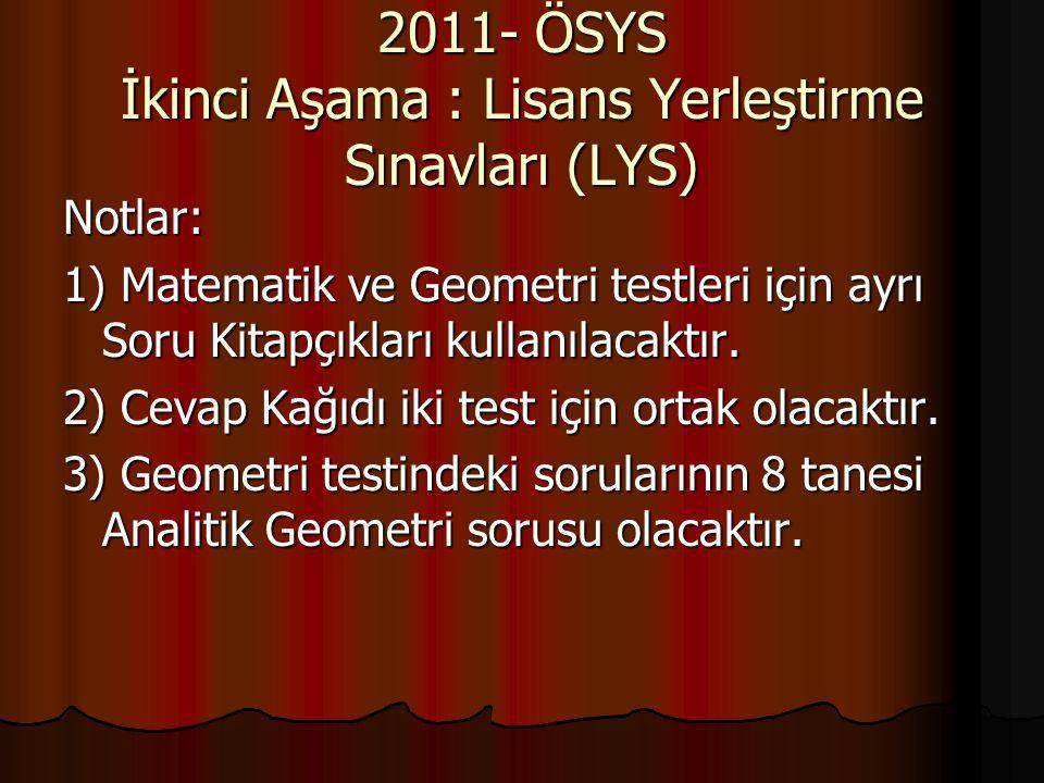 2011- ÖSYS İkinci Aşama : Lisans Yerleştirme Sınavları (LYS) Notlar: 1) Matematik ve Geometri testleri için ayrı Soru Kitapçıkları kullanılacaktır. 2)