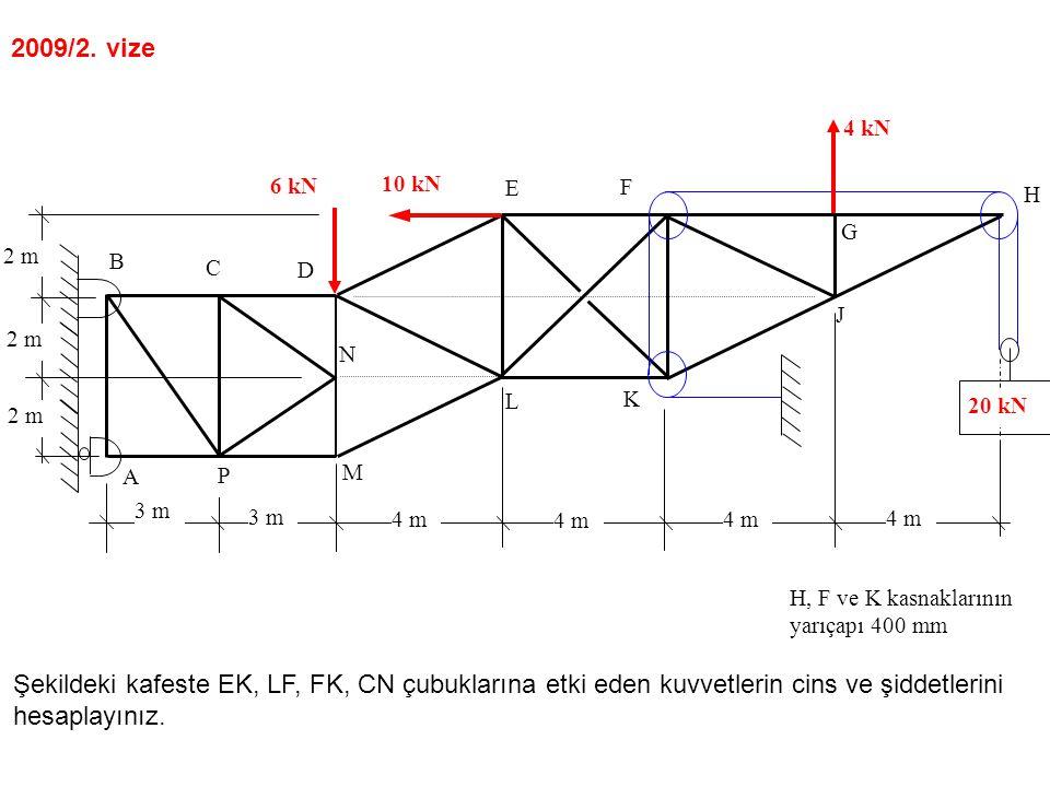 2 m 4 m 3 m 4 m A B C D E F G N M L K J H P 10 kN 6 kN 20 kN H, F ve K kasnaklarının yarıçapı 400 mm 4 kN 2009/2.