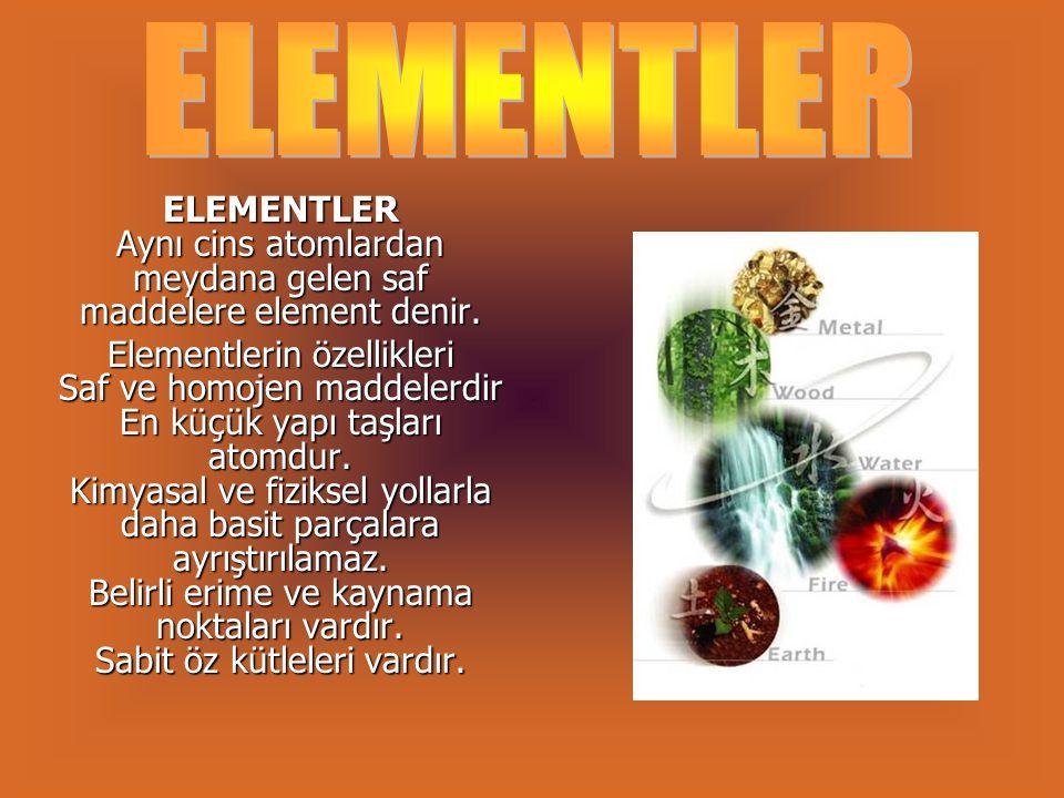 Elementlerin Sınıflandırılması Metaller Tabiatta atomik halde bulunur.