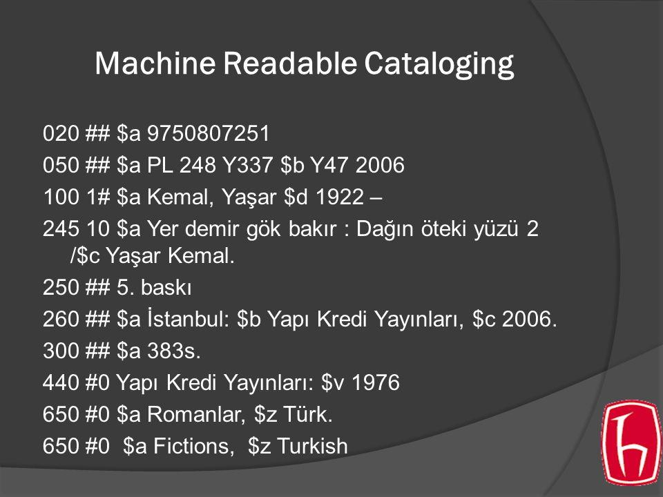 Machine Readable Cataloging 020 ## $a 9750807251 050 ## $a PL 248 Y337 $b Y47 2006 100 1# $a Kemal, Yaşar $d 1922 – 245 10 $a Yer demir gök bakır : Dağın öteki yüzü 2 /$c Yaşar Kemal.