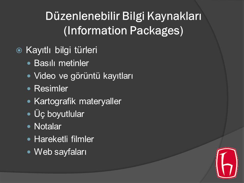 Düzenlenebilir Bilgi Kaynakları (Information Packages)  Kayıtlı bilgi türleri Basılı metinler Video ve görüntü kayıtları Resimler Kartografik materyaller Üç boyutlular Notalar Hareketli filmler Web sayfaları