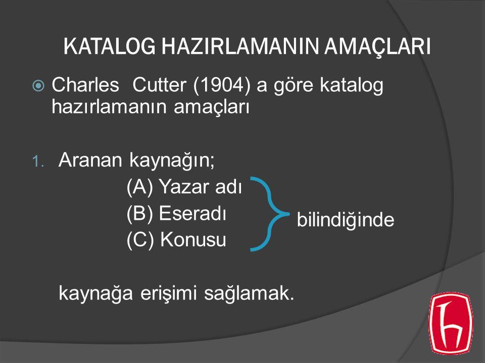 KATALOG HAZIRLAMANIN AMAÇLARI  Charles Cutter (1904) a göre katalog hazırlamanın amaçları 1.