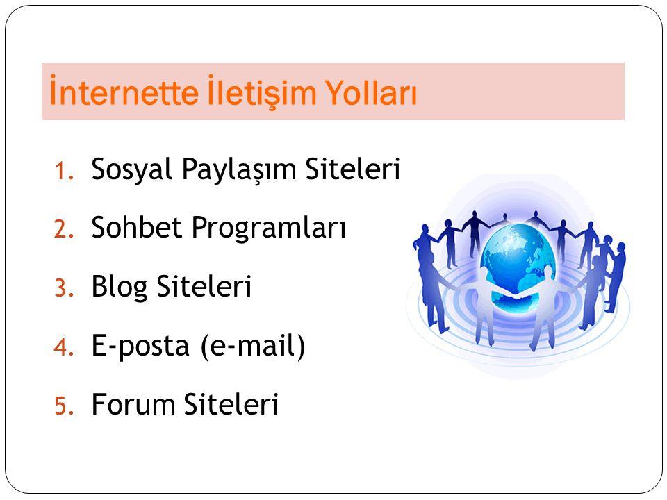 İnternette İletişim Yolları 1. Sosyal Paylaşım Siteleri 2. Sohbet Programları 3. Blog Siteleri 4. E-posta (e-mail) 5. Forum Siteleri