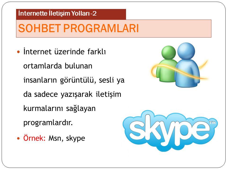 İnternet üzerinde farklı ortamlarda bulunan insanların görüntülü, sesli ya da sadece yazışarak iletişim kurmalarını sağlayan programlardır. Örnek: Msn