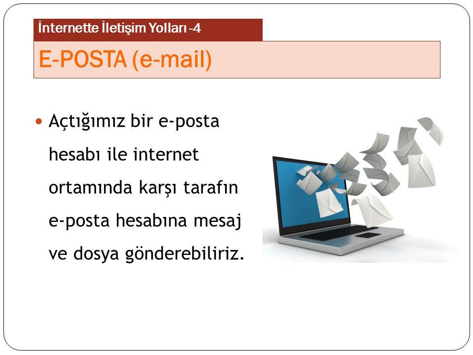 Açtığımız bir e-posta hesabı ile internet ortamında karşı tarafın e-posta hesabına mesaj ve dosya gönderebiliriz. E-POSTA (e-mail) İnternette İletişim