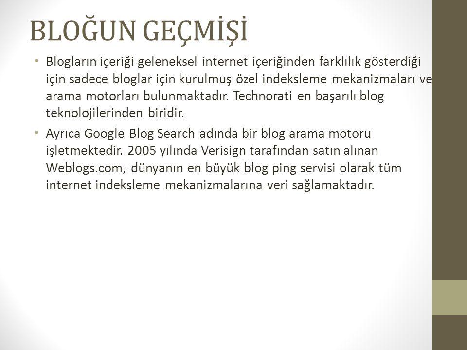 Blogların kullanımı 1999 yılında Blogger ın bu hizmeti vermeye başlaması ve kısa süre sonra bunu ücretsiz hale getirmesi ile yaygınlaşmıştır.