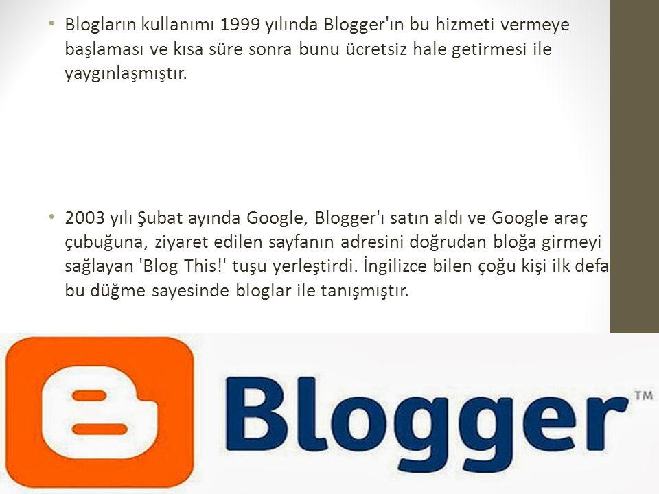 Blogların kullanımı 1999 yılında Blogger'ın bu hizmeti vermeye başlaması ve kısa süre sonra bunu ücretsiz hale getirmesi ile yaygınlaşmıştır. 2003 yıl