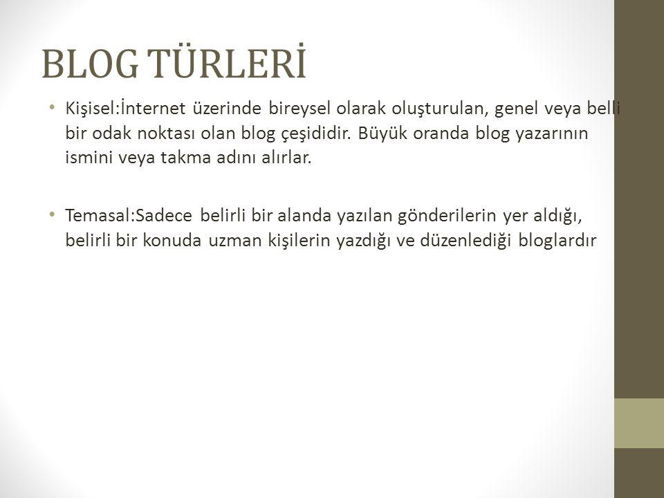 TOPLULUK:Üyelik sistemine sahip olan ve bu üyelerin yazdıkları gönderilerden meydana gelen bloglardır.