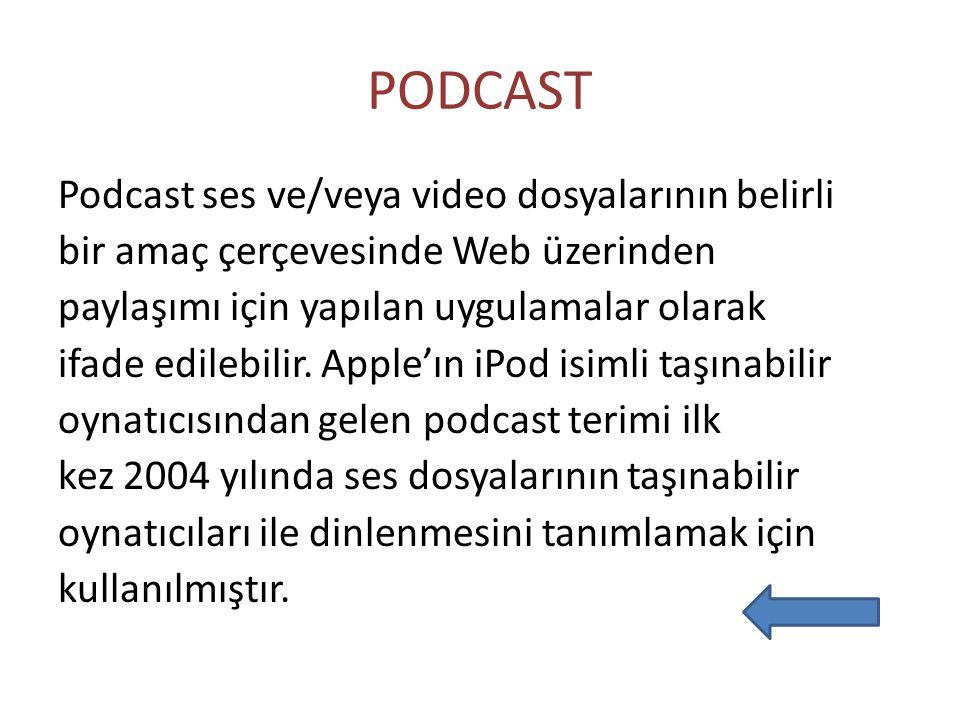 PODCAST Podcast ses ve/veya video dosyalarının belirli bir amaç çerçevesinde Web üzerinden paylaşımı için yapılan uygulamalar olarak ifade edilebilir.
