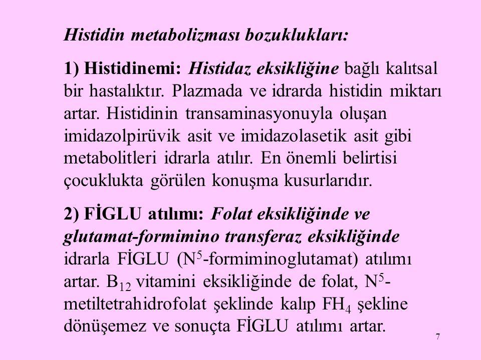 7 Histidin metabolizması bozuklukları: 1) Histidinemi: Histidaz eksikliğine bağlı kalıtsal bir hastalıktır. Plazmada ve idrarda histidin miktarı artar