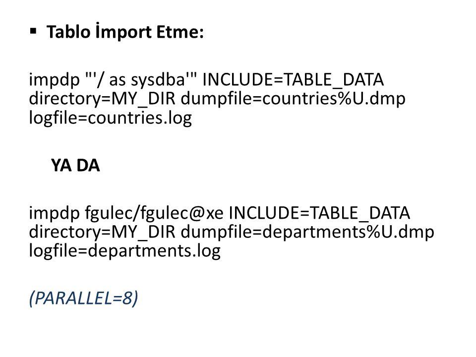  Şema export/import expdp / as sysdba schemas=hr directory=MY_DIR dumpfile=hr%U.dmp logfile=hr.log impdp / as sysdba schemas=hr directory=my_DIR dumpfile=hr%U.dmp logfile=hr_IMP.log