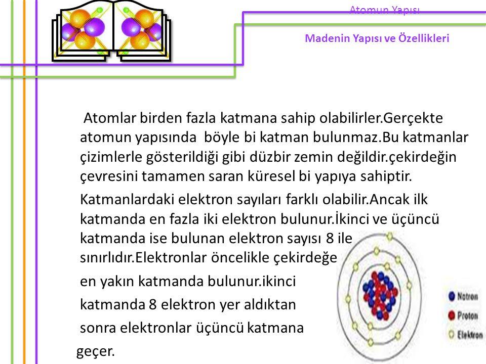 Atomlar birden fazla katmana sahip olabilirler.Gerçekte atomun yapısında böyle bi katman bulunmaz.Bu katmanlar çizimlerle gösterildiği gibi düzbir zemin değildir.çekirdeğin çevresini tamamen saran küresel bi yapıya sahiptir.