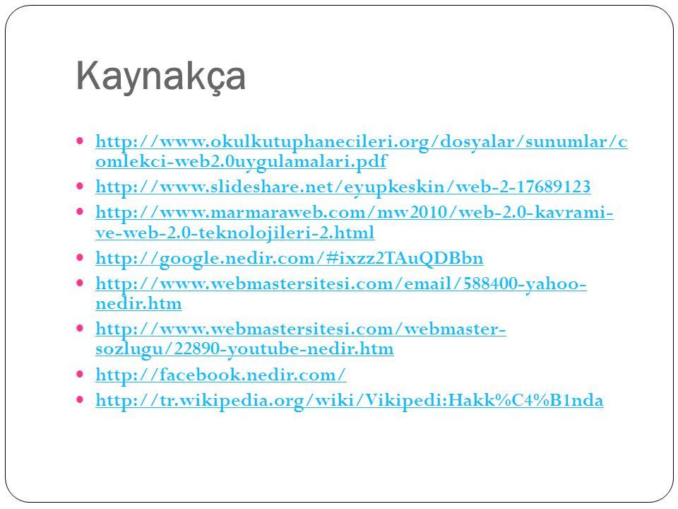 Kaynakça http://www.okulkutuphanecileri.org/dosyalar/sunumlar/c omlekci-web2.0uygulamalari.pdf http://www.okulkutuphanecileri.org/dosyalar/sunumlar/c