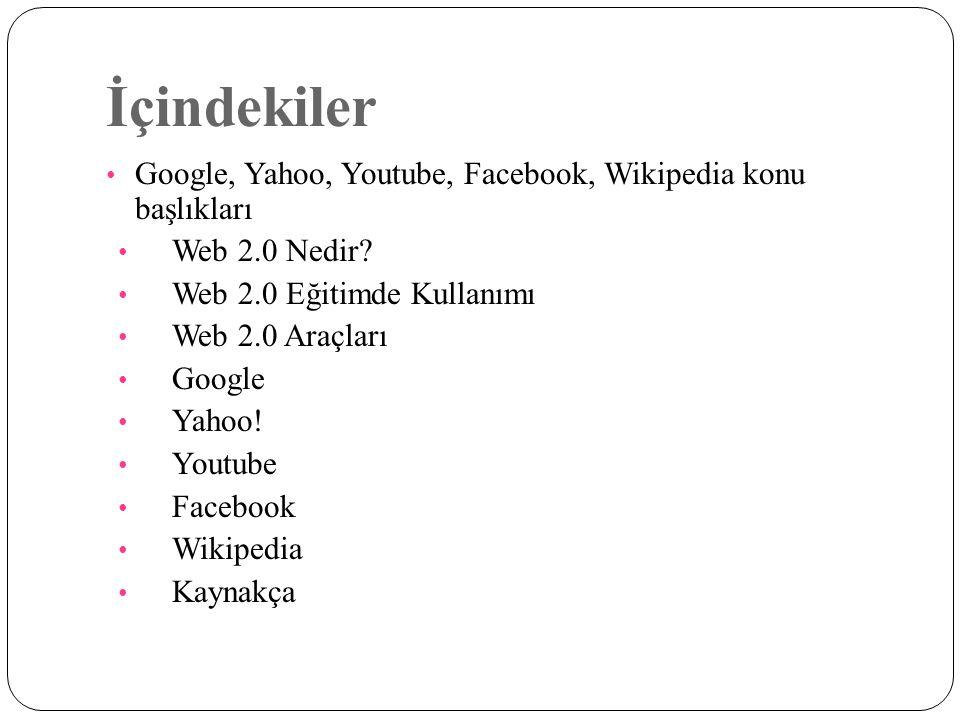 İçindekiler Google, Yahoo, Youtube, Facebook, Wikipedia konu başlıkları Web 2.0 Nedir? Web 2.0 Eğitimde Kullanımı Web 2.0 Araçları Google Yahoo! Youtu