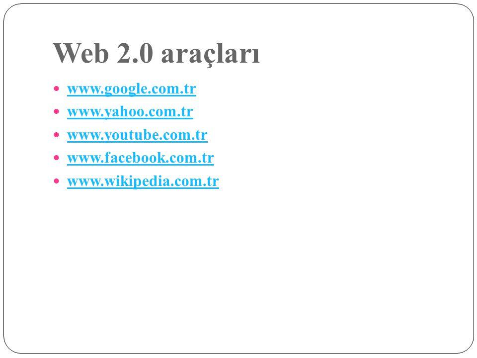 Web 2.0 araçları www.google.com.tr www.yahoo.com.tr www.youtube.com.tr www.facebook.com.tr www.wikipedia.com.tr