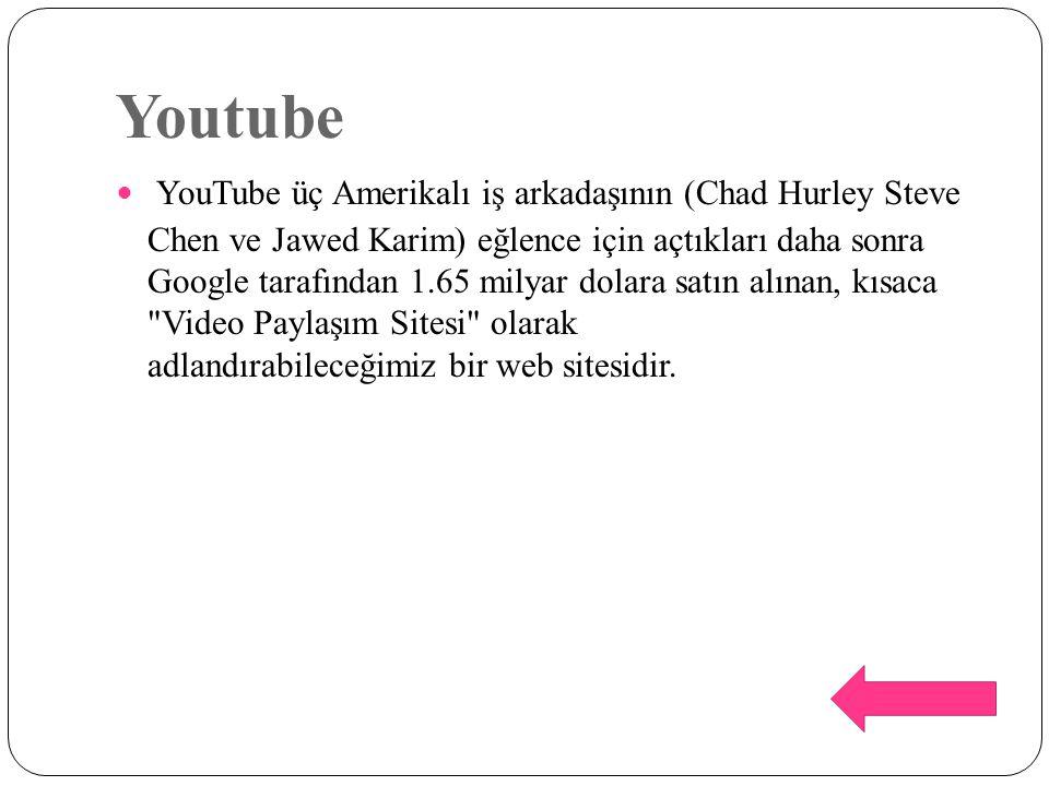 Youtube YouTube üç Amerikalı iş arkadaşının (Chad Hurley Steve Chen ve Jawed Karim) eğlence için açtıkları daha sonra Google tarafından 1.65 milyar do