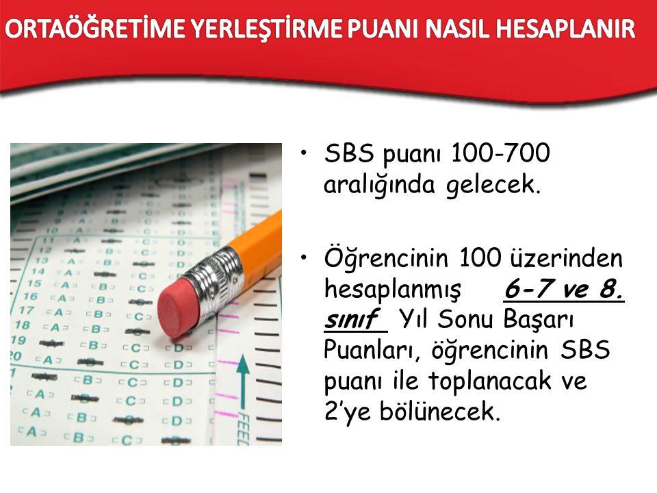 SBS puanı 100-700 aralığında gelecek. Öğrencinin 100 üzerinden hesaplanmış 6-7 ve 8. sınıf Yıl Sonu Başarı Puanları, öğrencinin SBS puanı ile toplanac