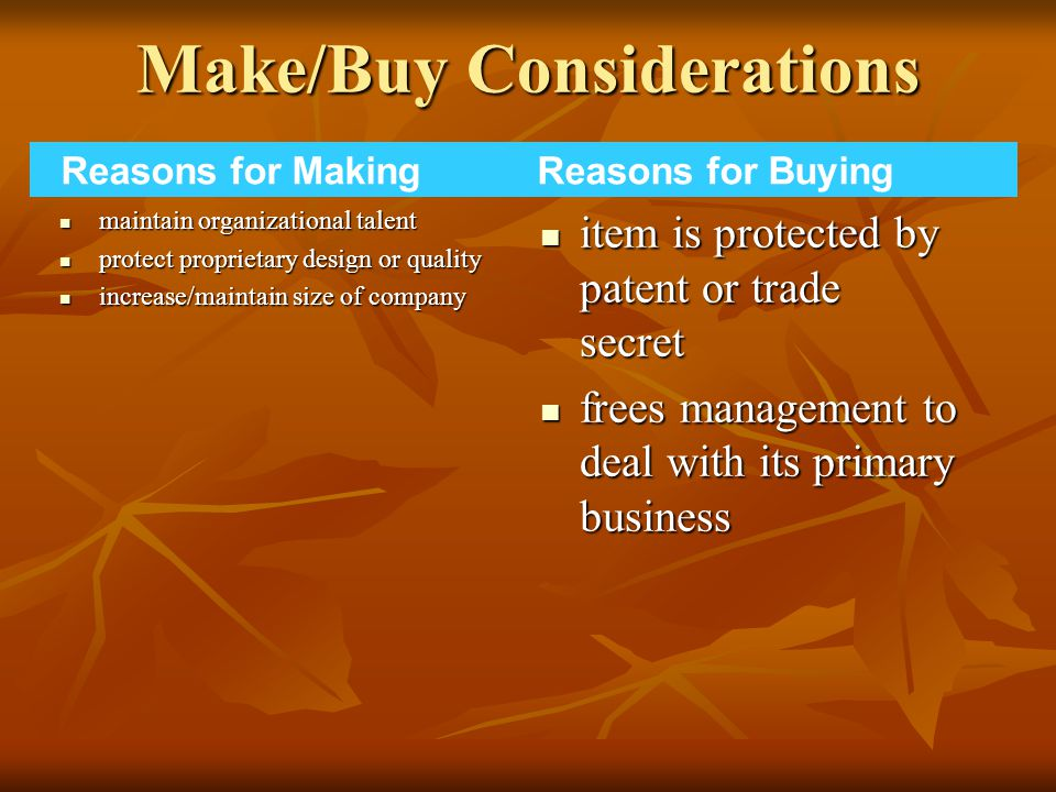 Make/Buy Considerations maintain organizational talent maintain organizational talent protect proprietary design or quality protect proprietary design or quality increase/maintain size of company increase/maintain size of company item is protected by patent or trade secret item is protected by patent or trade secret frees management to deal with its primary business frees management to deal with its primary business Reasons for Making Reasons for Buying