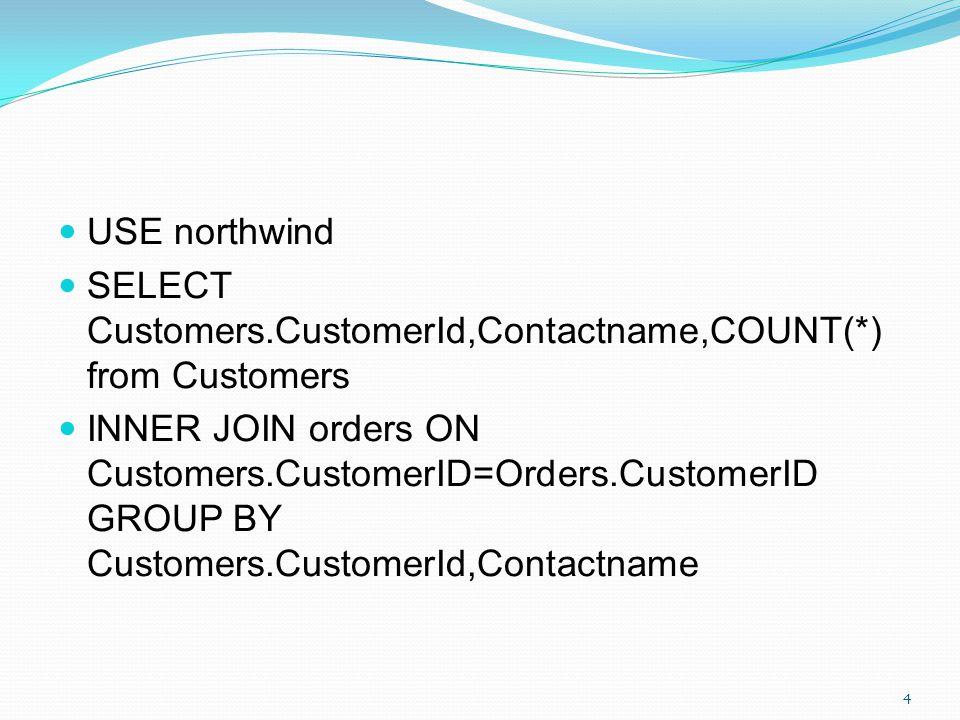 SELECT Customers.CustomerId,Contactname,OrderId,OrderDate from Customers INNER JOIN orders ON Customers.CustomerID=Orders.CustomerID 45