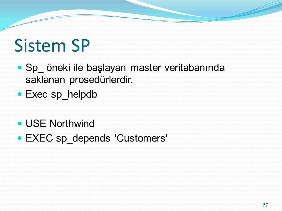 Sistem SP Sp_ öneki ile başlayan master veritabanında saklanan prosedürlerdir. Exec sp_helpdb USE Northwind EXEC sp_depends 'Customers' 57