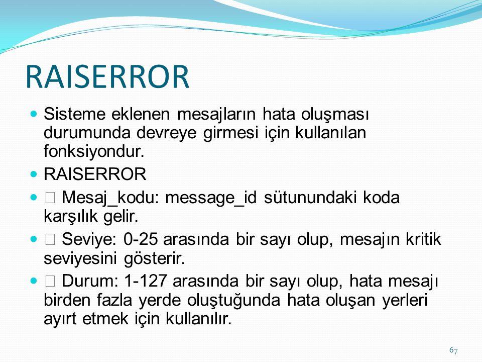 RAISERROR Sisteme eklenen mesajların hata oluşması durumunda devreye girmesi için kullanılan fonksiyondur. RAISERROR  Mesaj_kodu: message_id sütunund
